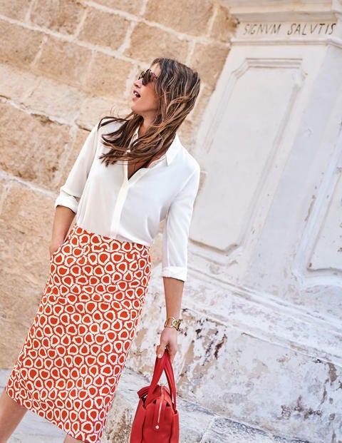 Modern A-Line Skirt - Rosehip, Summer Leaves