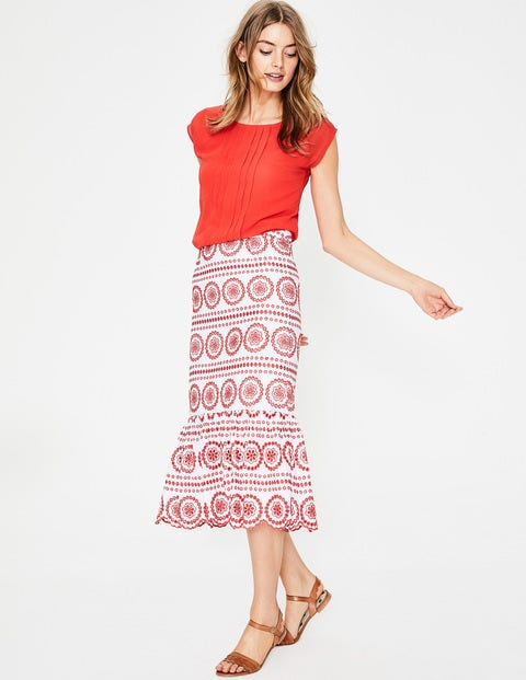Broderie Skirt - White with Red Pop