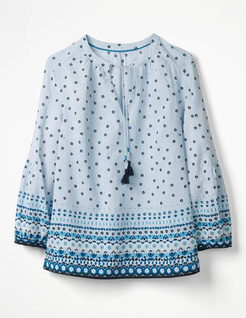 Gauzy Tie-Neck Top - Oxford Blue Folk Stripe
