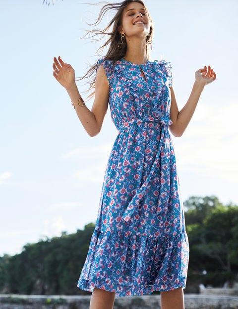 Elise Kleid - Blau, Tropisches Blumenmuster