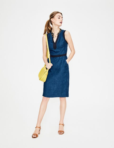 d1c74f5e067 Linen Notch Neck Dress - Decadence Blue Delave