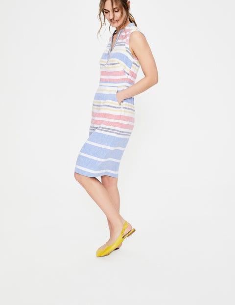 be142c90e1 Linen Notch Neck Dress - Multi Stripe | Boden EU
