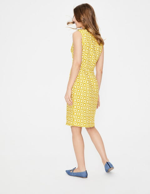 e2eec9409f Linen Notch Neck Dress - Mimosa Yellow Daisy Chain | Boden EU