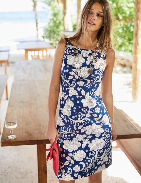 Paula Print Dress - Opulent Blue Tropical Floral