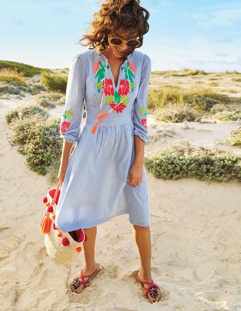 Marla Embroidered Dress - Floral Parrot Embroidery