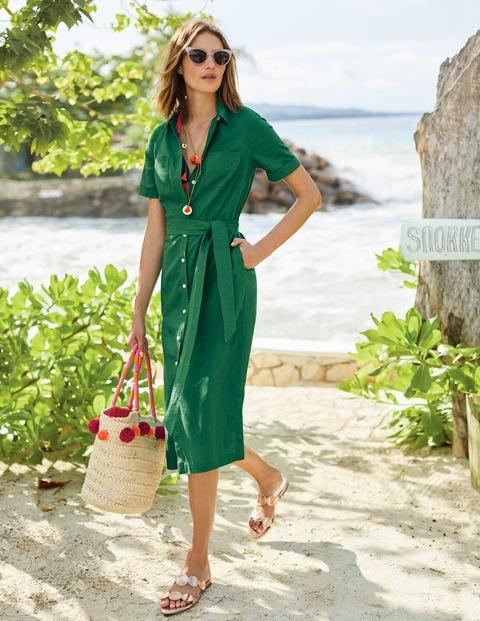 Tie Waist Shirt Dress - Sap Green