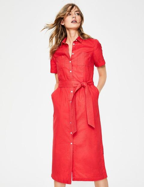 boden - Hemdblusenkleid mit Taillengürtel Red Damen .  Size - 36 L