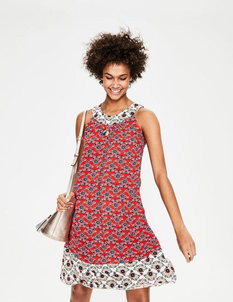 Printed Swing Dress - Red Pop Floral Bouquet