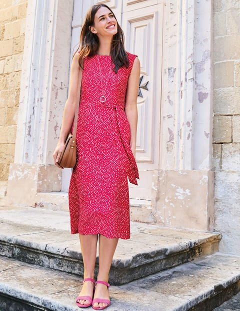Camille Midi Dress - Carnival Pink Scattered Spot