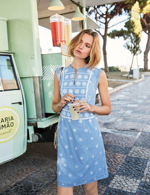 Hotchpotch Broderie Dress - Soft Blue and Ivory Stripe