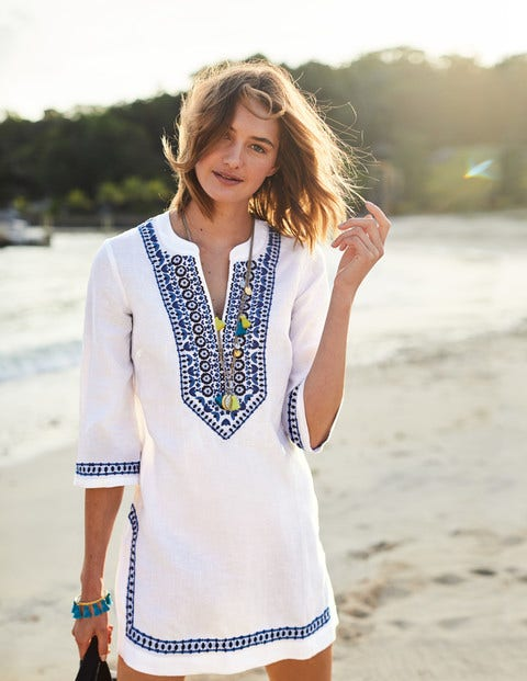 3e0e0c959c22f Embroidered Linen Kaftan W0129 3/4 Sleeved Tops at Boden