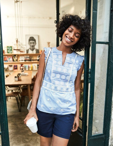 Hotchpotch Broderie Top - Soft Blue and Ivory Stripe