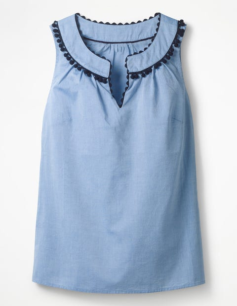 Rickrack And Pom Top - Chambray - Blue