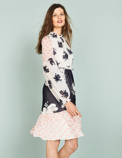 Jemima Ruffle Dress - Pearl Wild Bloom Mono