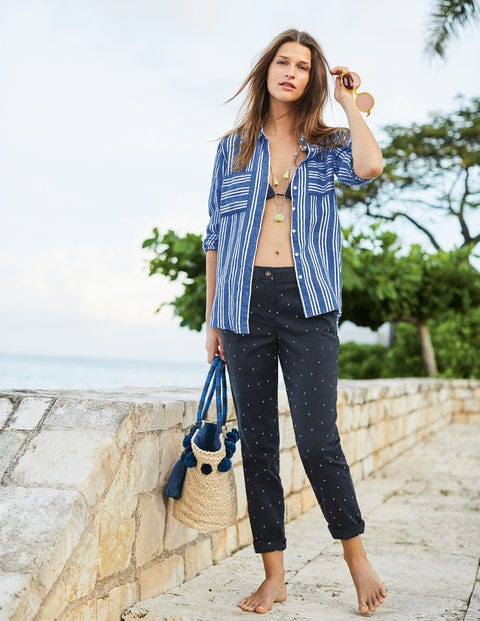 Rachel Chino Trousers - Navy with Hazy Sky Spot