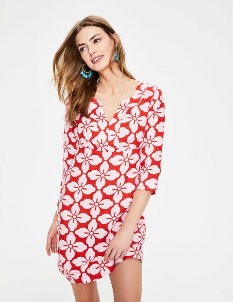 Casual Linen Tunic - Red Pop Floral Tile