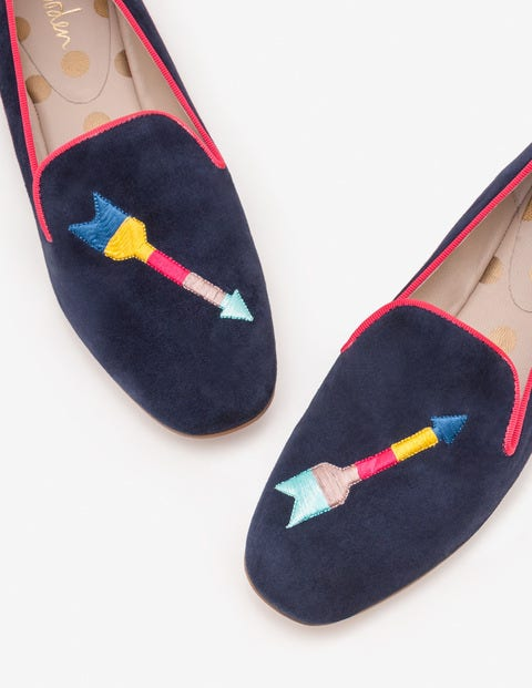 Elsie Embroidered Slippers - Navy