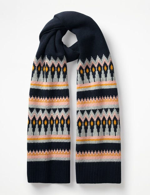 Fair Isle Scarf - Navy and English Mustard