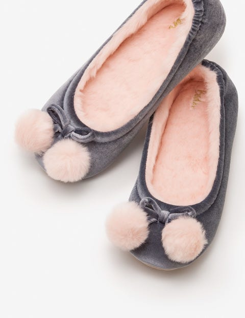 Velvet Pompom Slippers - Breeze