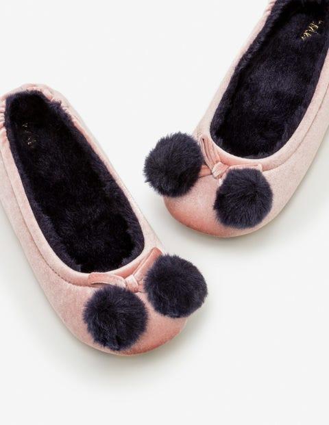 Velvet Pompom Slippers - Milkshake