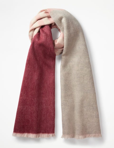 Colourful Wool Scarf - Mulled Wine and Grey Melange