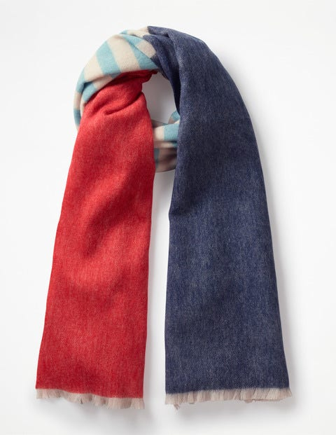 Colourful Wool Scarf - Navy and Post Box Red