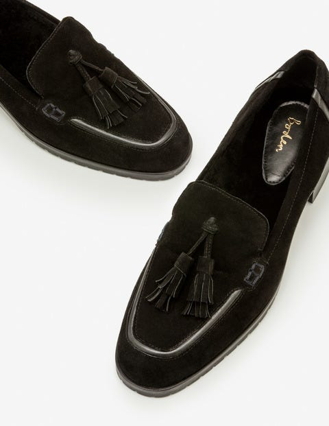 Aria Shearling Loafers - Black