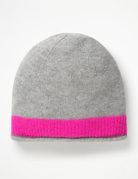 Cashmere Hat - Grey Melange/Pop Pansy