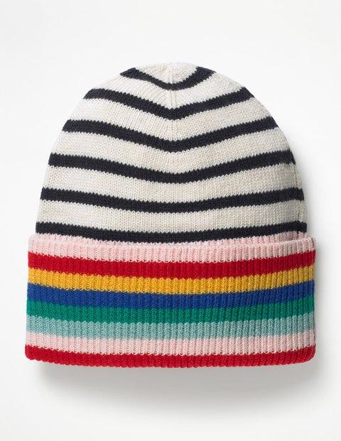 Stripe Detail Hat - Ivory and Navy Stripe