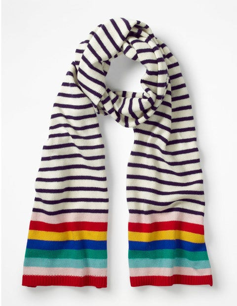 Stripe Detail Scarf - Ivory and Navy Stripe