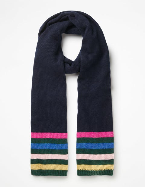 Stripe Detail Scarf - Navy