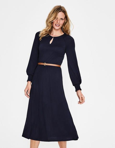 Eliza Jersey Midi Dress - Navy