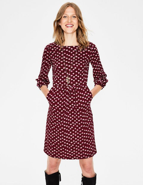 Odelia Jersey Dress - Mulled Wine Dandelion Bud