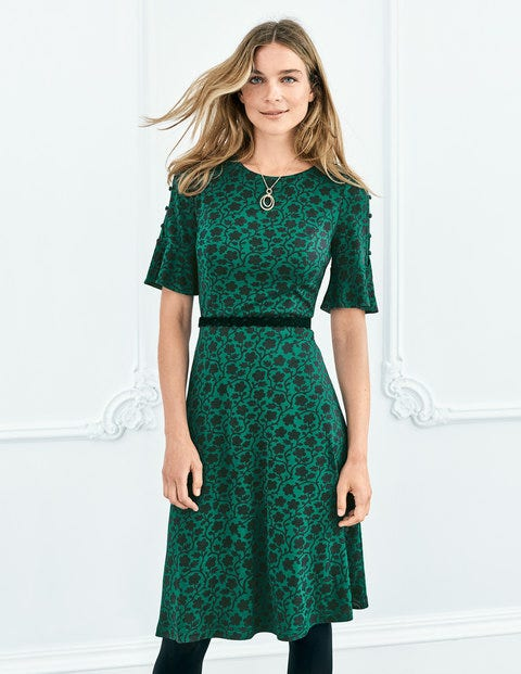Alexis Jersey Dress - Amazon Green Enchanted Vine