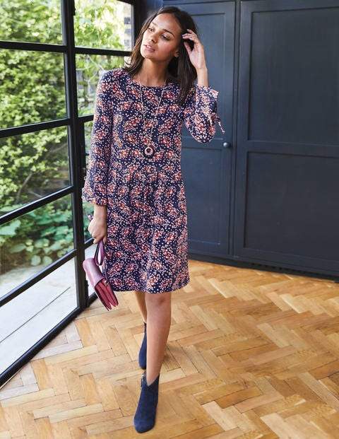 Posie Jersey Dress - Navy Autumnal Leaves