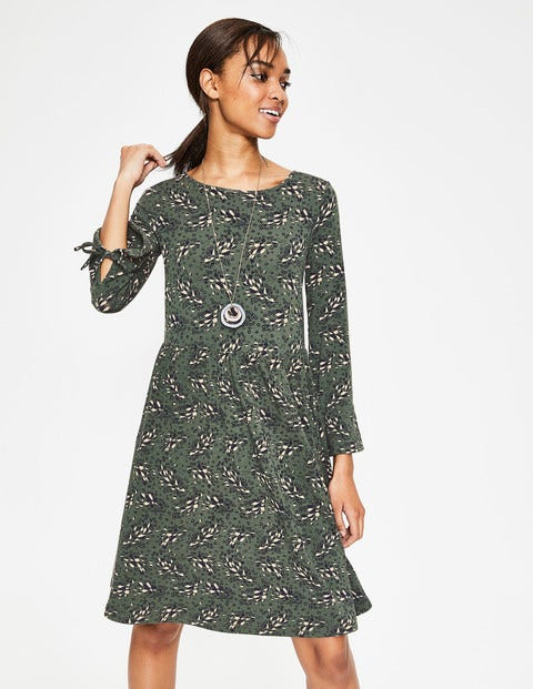Posie Jersey Dress - Pine Tree Autumnal Leaves