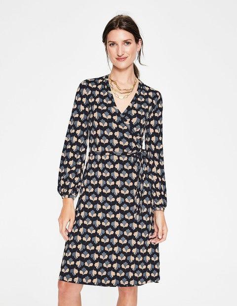 Elodie Jersey Wrap Dress - Black Oak Leaf