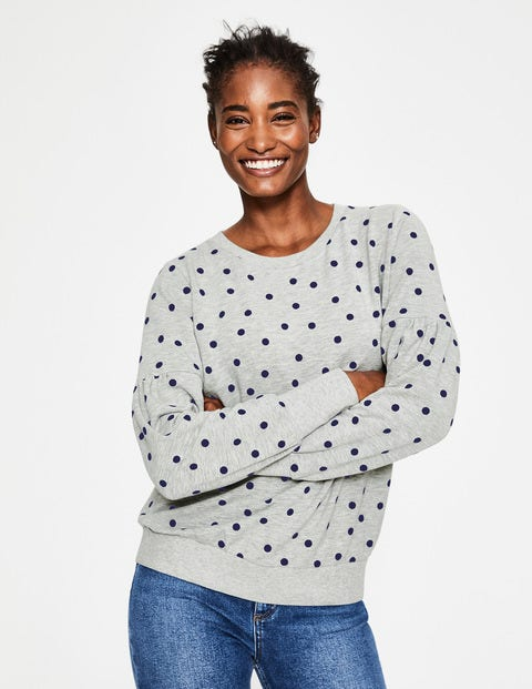 Renee Sweatshirt - Grey Marl Flocked Spot