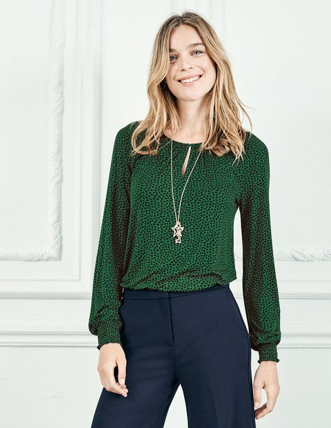 Vicky Jersey Top - Amazon Green Petal
