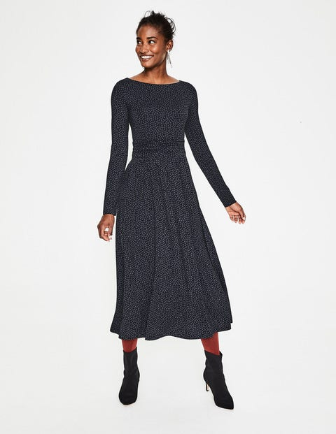 Lucille Jersey Midi Dress - Black/Whale Grey Petal