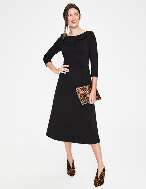 Maddie Ponte Midi Dress - Black