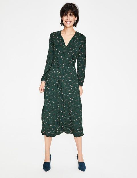 Flora Jersey Midi Dress - Chatsworth Green Cosmic