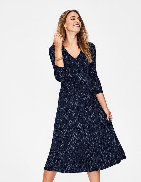 Coraline Jersey Midi Dress - Navy Metallic Spot