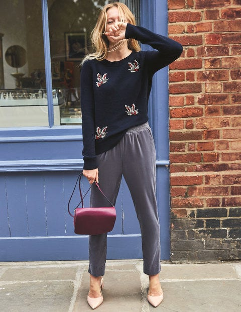Nell Embellished Sweater - Navy