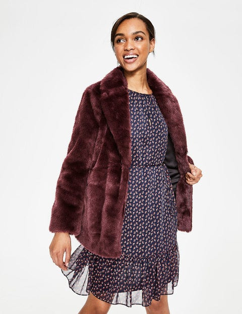 Boxgrove Faux Fur Coat - Wine Faux Fur
