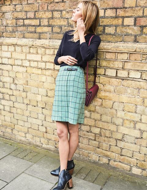 Faye Tweed Kilt - Aquamarine and Navy Windowpane