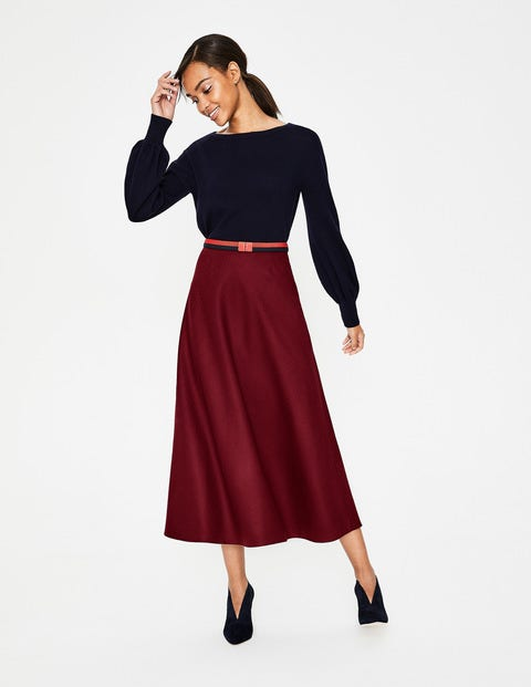 1930s Style Skirts : Midi Skirts, Tea Length, Pleated British Tweed Midi Skirt Purple Women Boden Burgundy £120.00 AT vintagedancer.com