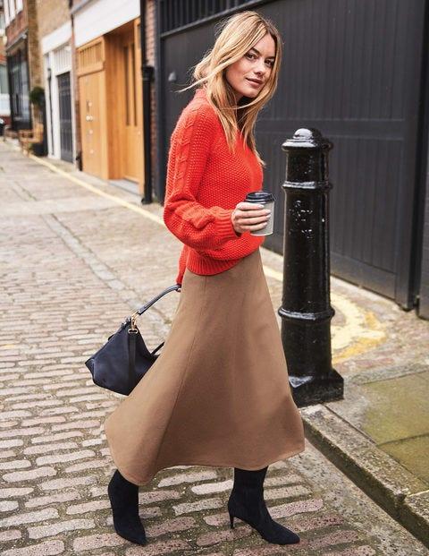 British Tweed Midi Skirt - Soft Truffle