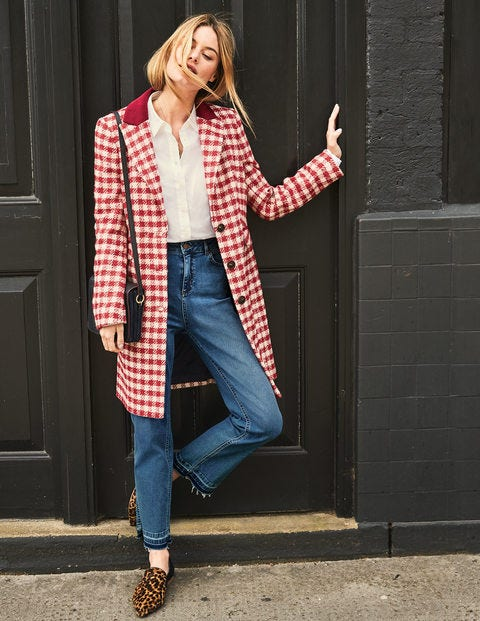 Eastbourne Coat - Red Pink Check