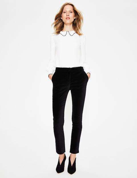 Velvet Straight Leg Pants - Black